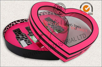 China Heart Shaped Screen Printing Cosmetic Gift Packaging Box With PVC Windows Flocking supplier