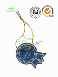 China Multi Colored Clothing Hang Tags With Metallic String Round Corner Shape supplier