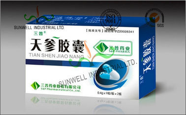 China Folding Oral Tablet Capsule Medicine Packaging Box Coated Art Paper Material supplier