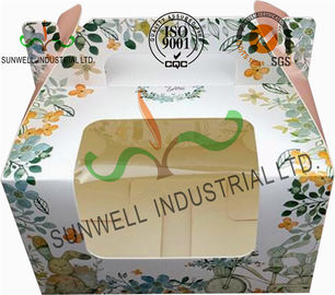 China Recycled White Cardboard Cake Packaging Boxes With Lids Full CMYK Printing supplier