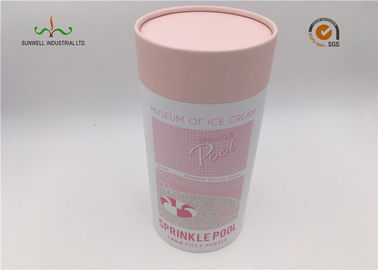 China White Coated Paper Round Cardboard Tubes With Lids For Food Cake Packaging supplier