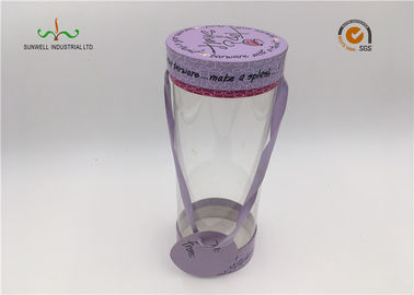 China Custom Made Luxury PVC Plastic Cylinder Tube Boxes With Hand For Portable supplier