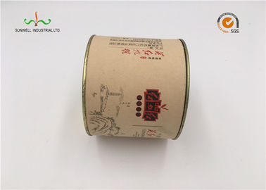Round Rigid Cardboard Cylinder Tubes For Paper Gift With Metal Tin Lid