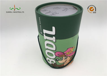 Luxury custom designed recyclable rigid cardboard round cylinder with handle for wine bottles