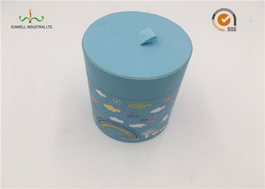 Customized Cardboard Cylinder Tubes Flat Edge With Handmade Light Blue Round Paper Box