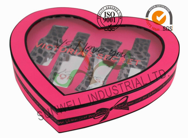 Heart Shaped Screen Printing Cosmetic Gift Packaging Box With PVC Windows Flocking