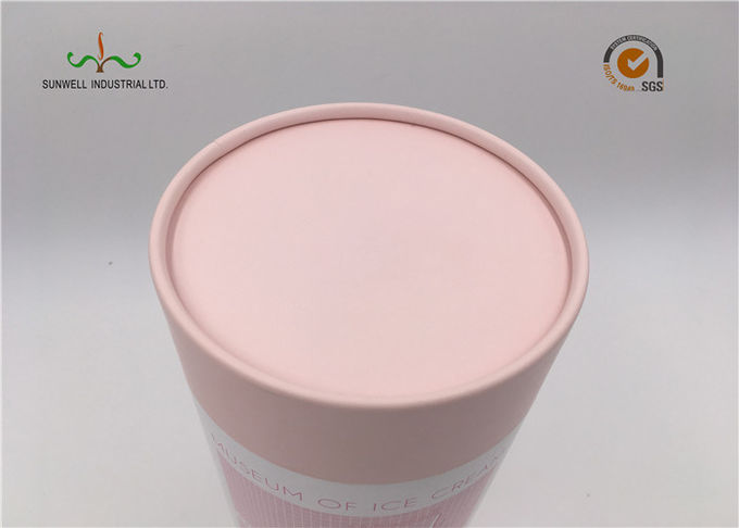 White Coated Paper Round Cardboard Tubes With Lids For Food Cake Packaging
