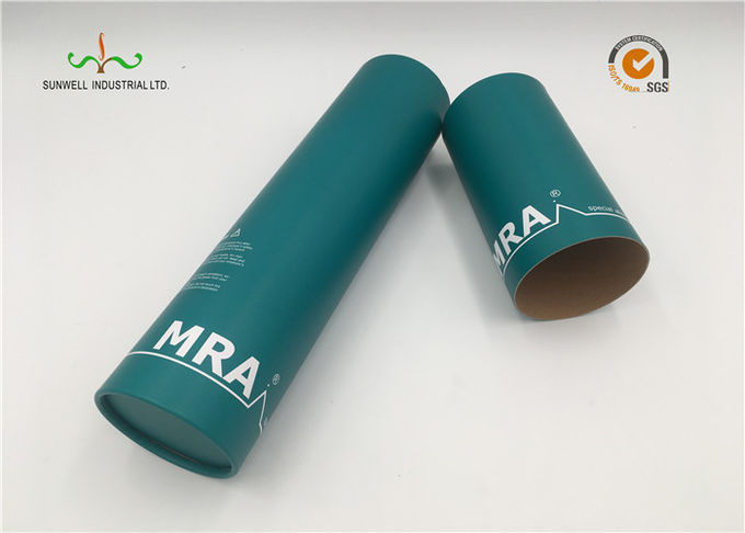 Custom Made Cardboard Paper Craft Tube Packaging With Silver Hot Stamp