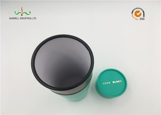 Tea Packing Green Color Cardboard Cylinder Tubes Cylinder Paper Box With Lids