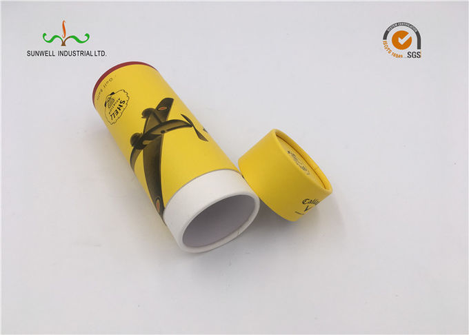 Yellow Color Cardboard Cylinder Tubes Wine Packaging Umbrella Round Tube Box